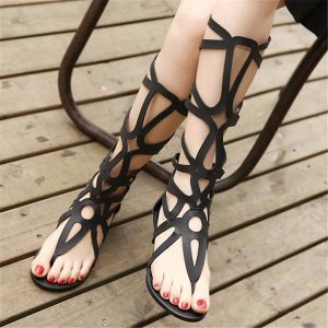Flat Knee High Zipper Sandals Online