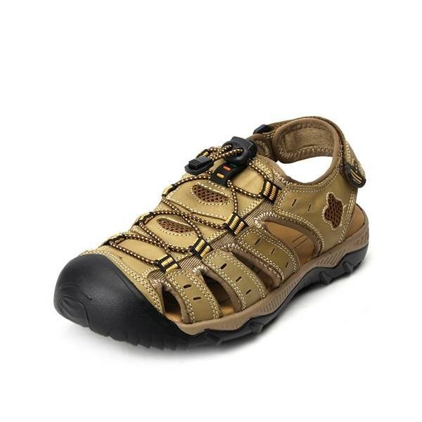 390deb6f1234c Big Size Men Leather Lace Up Hollow Out Outdoor Beach Sandals - The ...