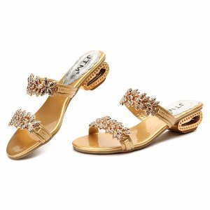 Crystal Bling Square Heel Slippers Online