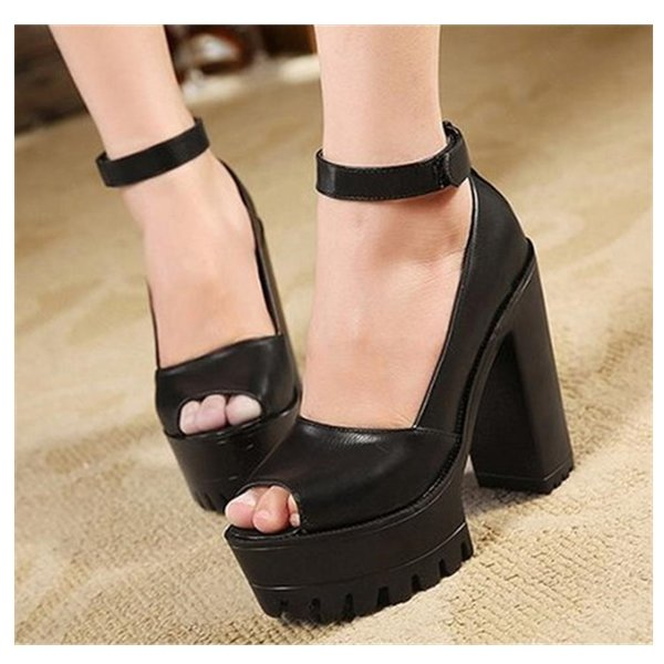 Leather Strappy Chunky Heel Online