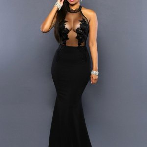 Embroidery Halter Evening Gown