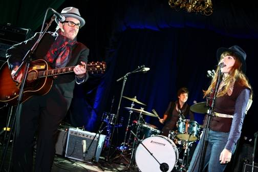 Elvis Costello and Jenny Lewis concert photo