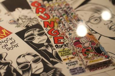 Peter Bagge's grunge penciels at Counterculture Comix, Bumbershoot Seattle Sept 4 - 6. Robyn Hanson photo