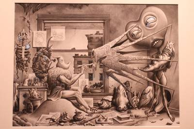"""Jim Woodring's """"The Artist's Eye"""", on display at Counterculture Comix, Bumbershoot Seattle Sept 4 - 6 2010. Robyn Hanson photo"""