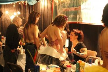 Ace Angels bodypainting booth at Taboo Naughty but Nice Show