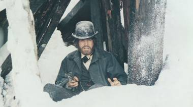 "Warren Beattie in ""million-dollar snow"" during McCabe & Mrs. Miller's final shoot-out."