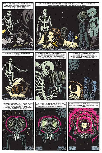 A page from the Fantagraphics graphic novel King of the Flies