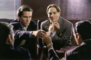 Scene from the 2000 movie American Psycho with Christian Bale.