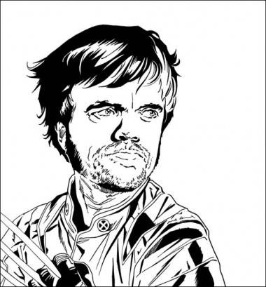 Brandon Bird drawing of Peter Dinklage (Game of Thrones) as Wolverine.