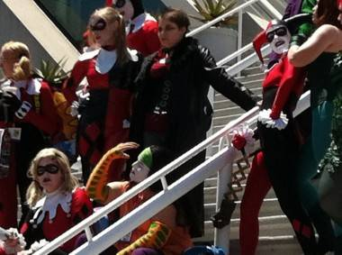 A flash mob of Harley Quins gathered outside the San Diego Convention Centre July 23 2011.