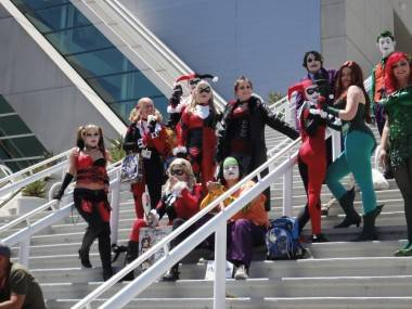 Flash mob of Harley Quinns outside the San Diego Convention Centre, July 22 2011.