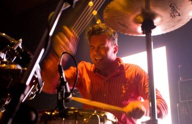 Battles perform live at the Rickshaw theatre