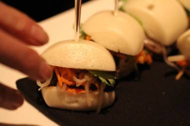 Pork and steamed bun sliders at Chinois restaurant photo