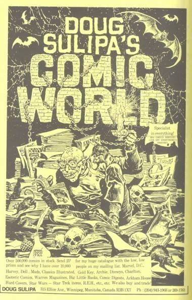Doug Sulipa's Comic World ad 1980.
