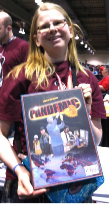 Calgary Expo attendee with Pandemic game photo