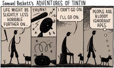 Tom Gauld cartoon Samuel Beckett's Tintin