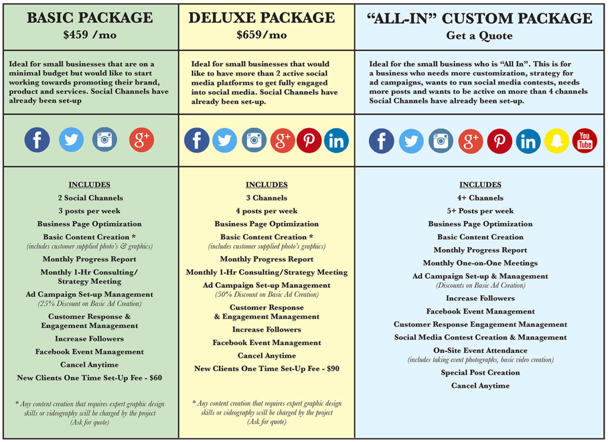 social Ginger package pricing