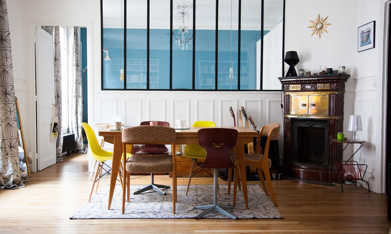 a colorful dining table