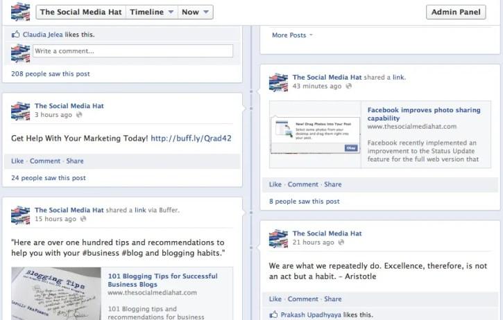 Current Facebook Timeline, The Social Media Hat Facebook Page