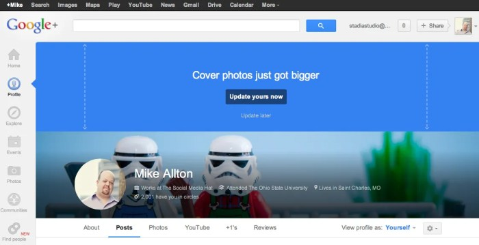 Old Google+ Profile Menu