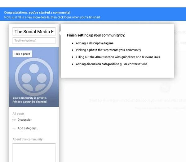 Google+ Community Settings