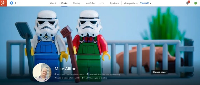 New Google+ Profile Menu