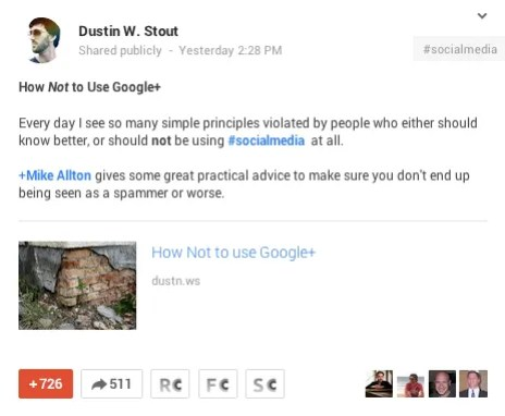 Dustin's post to Google+