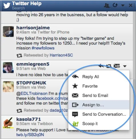 Email or Assign Tweets to Team Members