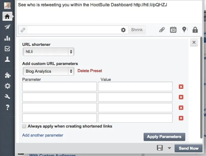 How to select a different link shortener.