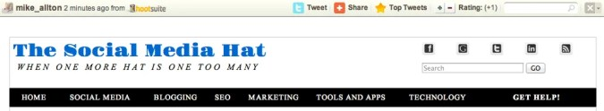 HootSuite Social Share Bar in action on The Social Media Hat.