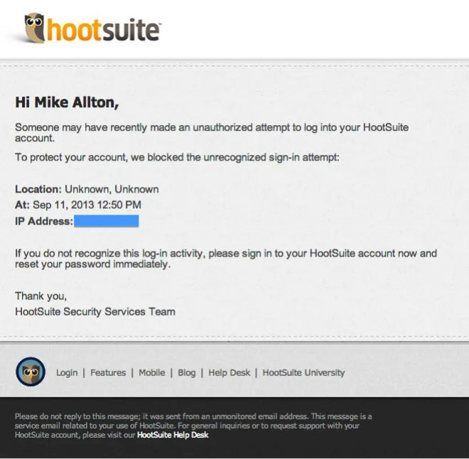 HootSuite Unauthorized Access Email Notification