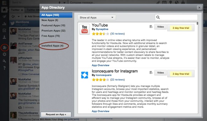 Log into Hootsuite and open the App Directory to review installed apps.