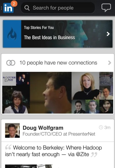 New LinkedIn Mobile Phone App Home Screen