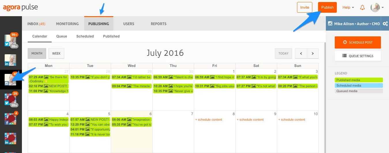 Schedule posts to Instagram using AgoraPulse