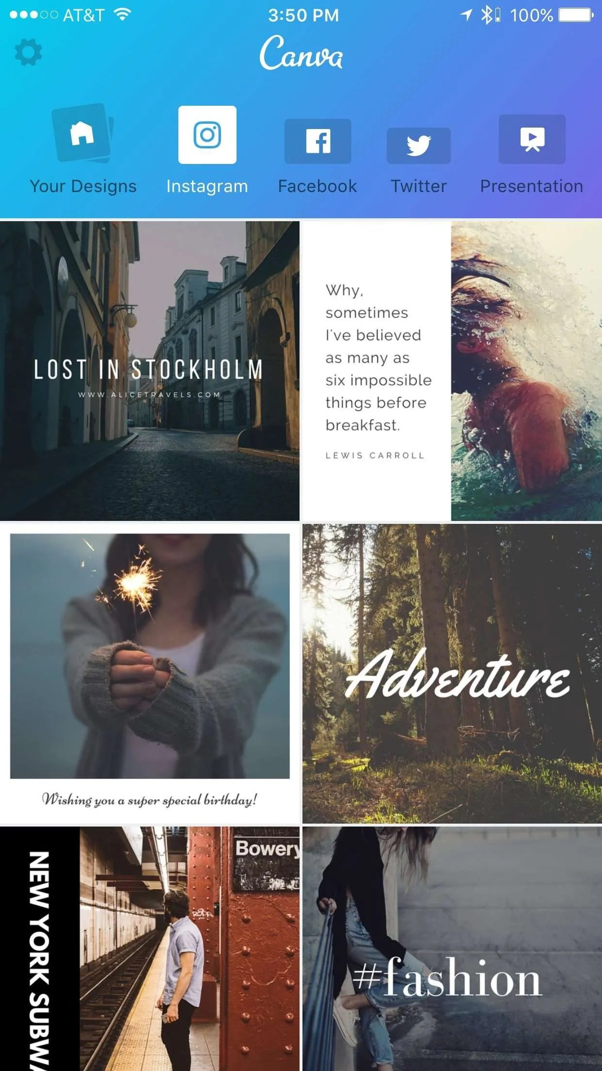 Access hundreds of templates within Canva for iOS.