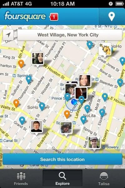 """foursquare """"Explore Map"""" screen"""