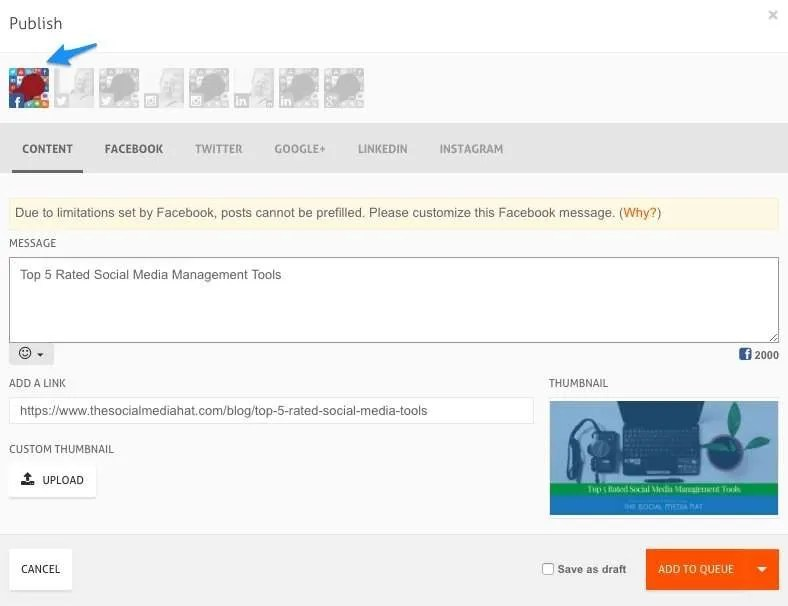 Use the AgoraPulse browser extension to initiate a share and select your Facebook Page.