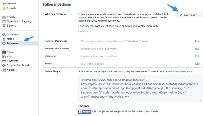 Update your Follower Settings