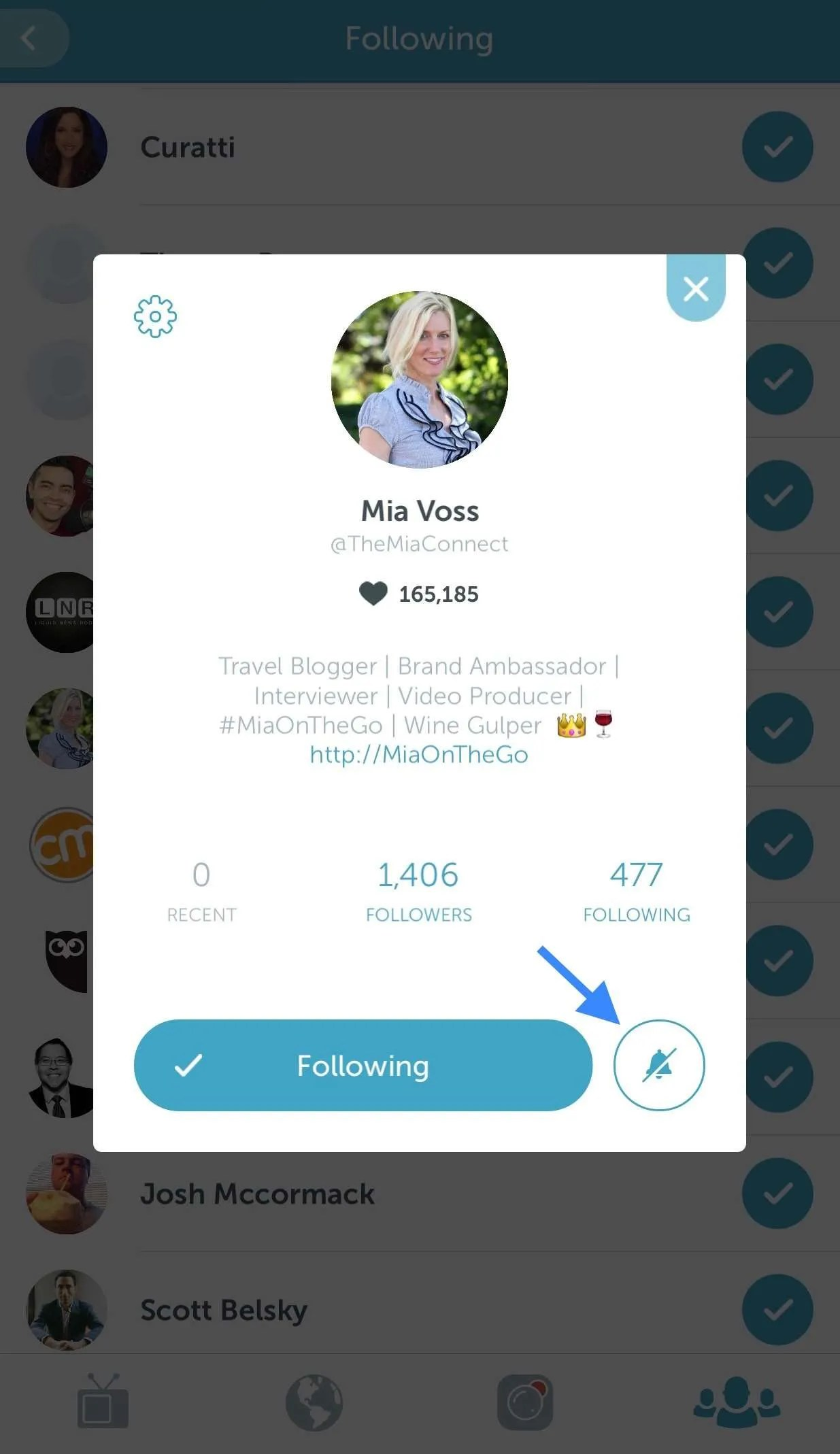 Where to find notifications on Periscope.