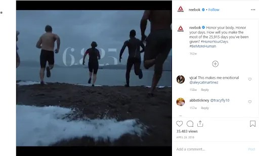 Reebok uses Instagram videos to promote their brand.