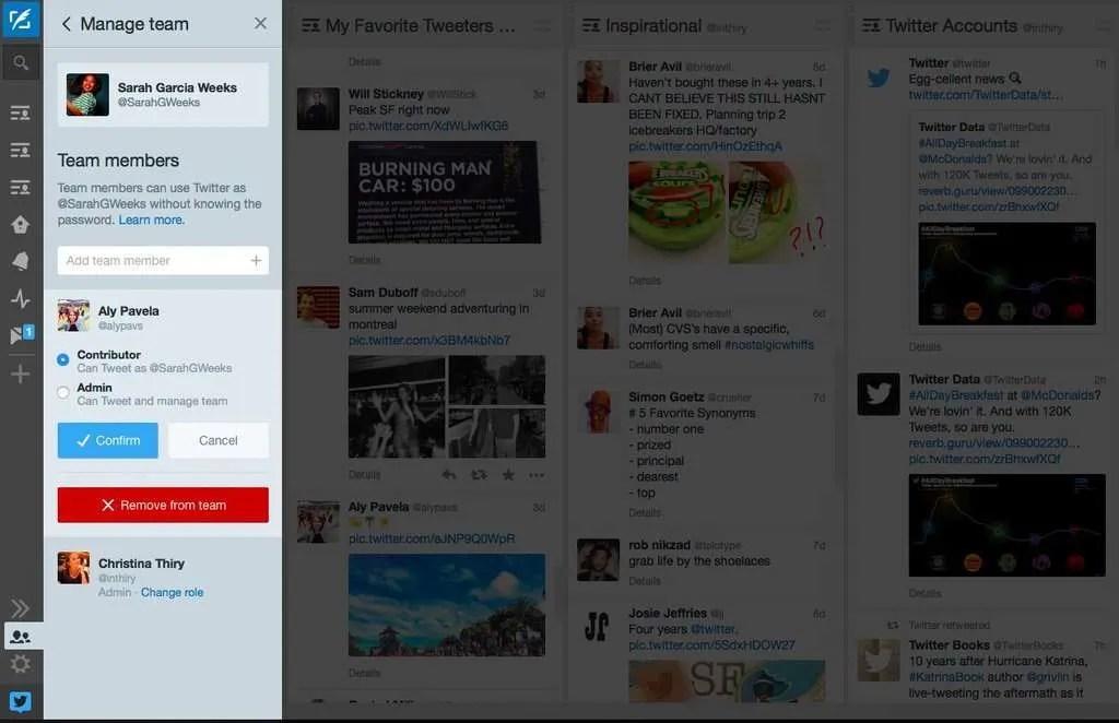 TweetDeck Teams for managing multiple Twitter profiles with multiple people.