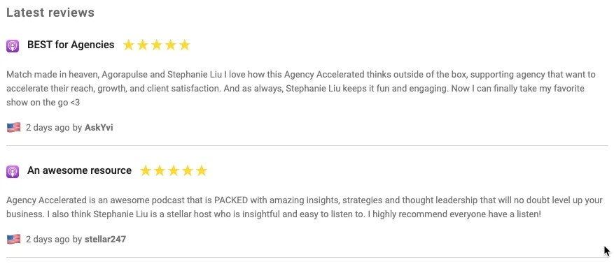 The Agency Accelerated podcast is already receiving great reviews, a testament to the power of content repurposing.