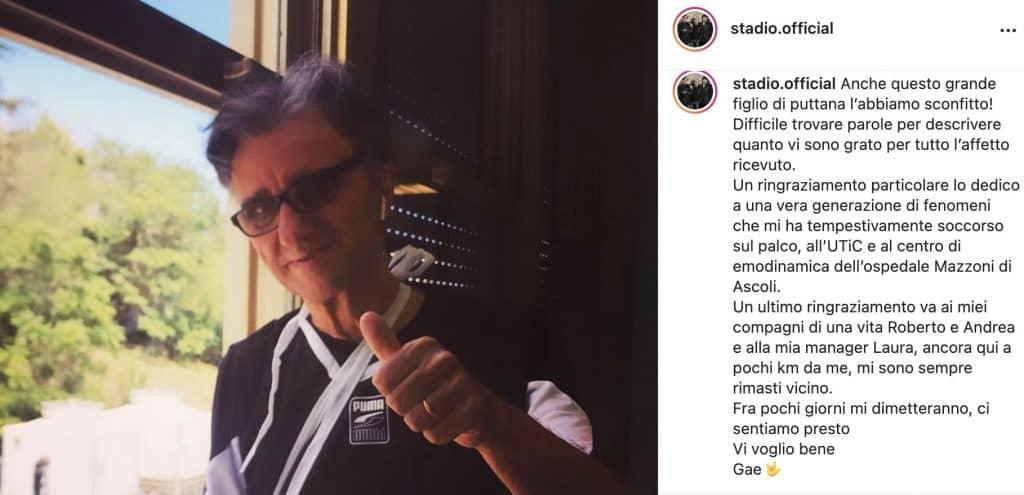 Post Instagram degli Stadio