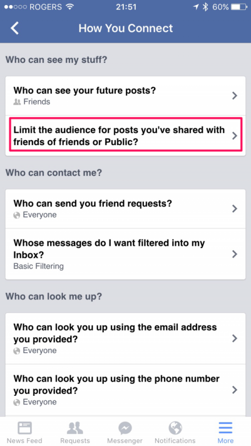 Limit Audience Settings in Facebook