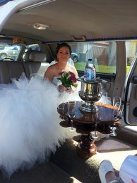 bride, inside a limo