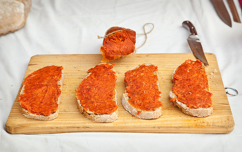Sobrasada and Cheese in Mahón | Two of the best things you can eat in Mahón ( Menorca , Spain). One of them a maturated raw sausage and the other salty cow cheese, two must try in the Balearic Islands
