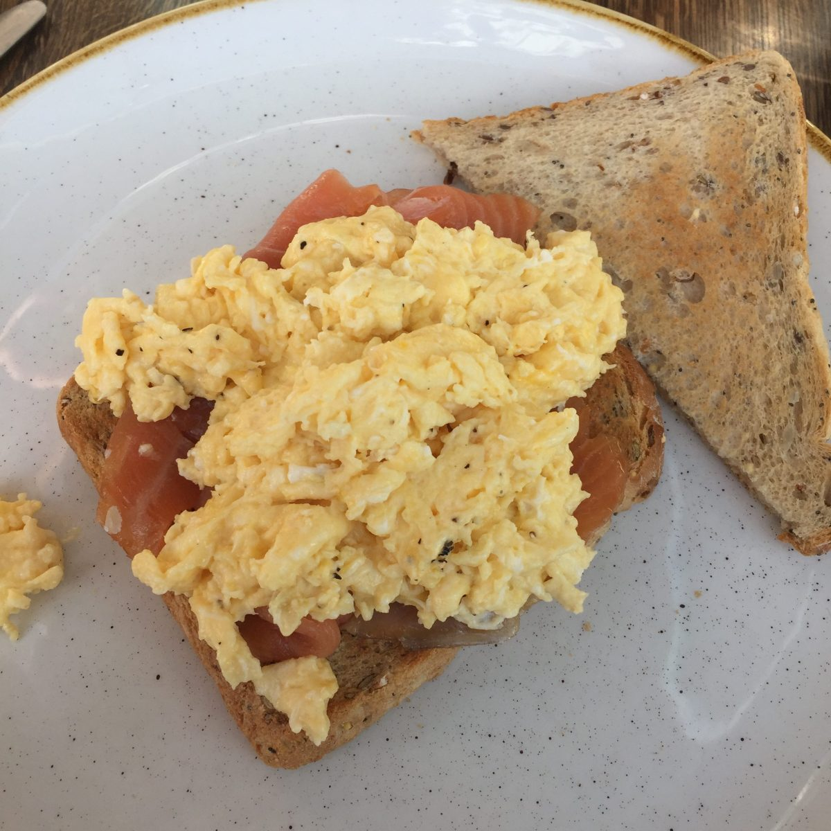 smoked salmon and scrambled eggs at alexander pope hotel