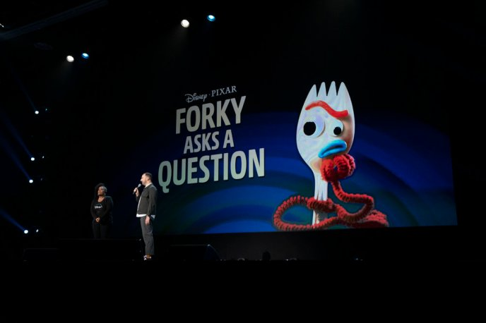 Tony Hale introduces the new Disney+ short series Forky Asks a Question at the D23 Expo.