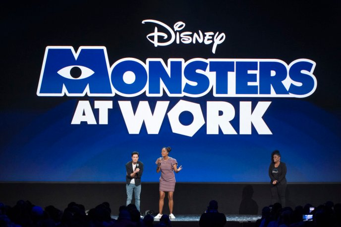 Aisha Tyler and Ben Feldman introduce the new Monsters at Work series, at the 2019 D23 Expo. The series is coming to Disney+ in November 2019.