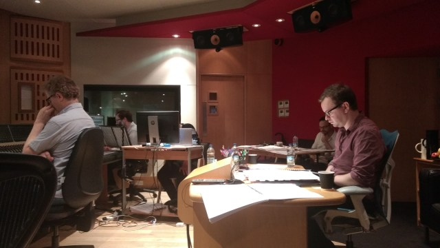 Gareth Coker in the control room with Simon (left), Gordon (middle left) and Zach (right)
